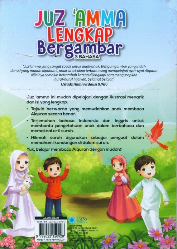 Cover Belakang Buku Juz Amma Lengkap Bergambar 3 Bahasa