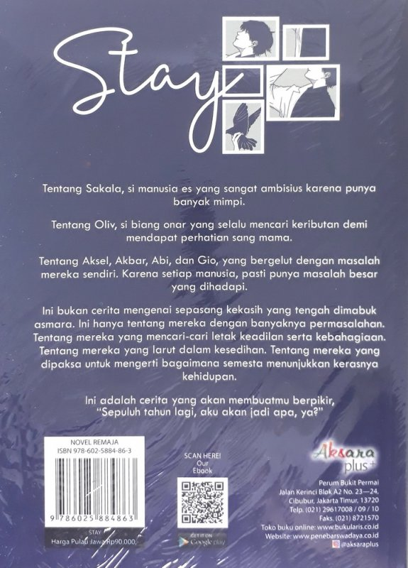 Cover Belakang Buku Stay a novel