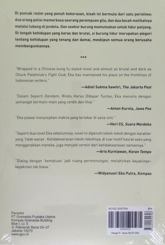 Cover Belakang Buku Seperti Dendam, Rindu Harus Dibayar Tuntas (Cover Baru 2019)