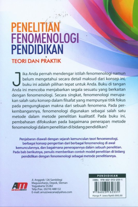 Cover Belakang Buku Penelitian Fenomenologi Pendidikan - Teori dan Praktik