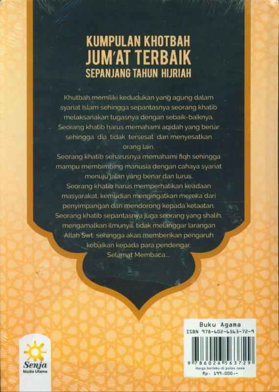 Cover Belakang Buku Kumpulan Khotbah Jumat Terbaik Sepanjang Tahun Hijriah - Hard Cover