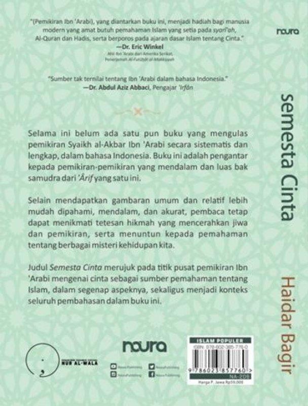 Cover Belakang Buku Semesta Cinta: Pengantar kepada Pemikiran Ibn Arabi (Republish)