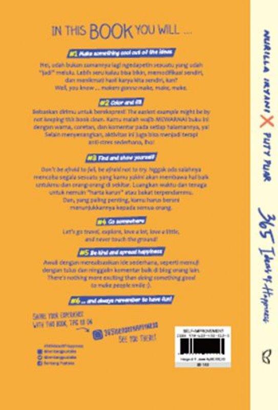 Cover Belakang Buku 365 Ideas of Happiness (Republish)