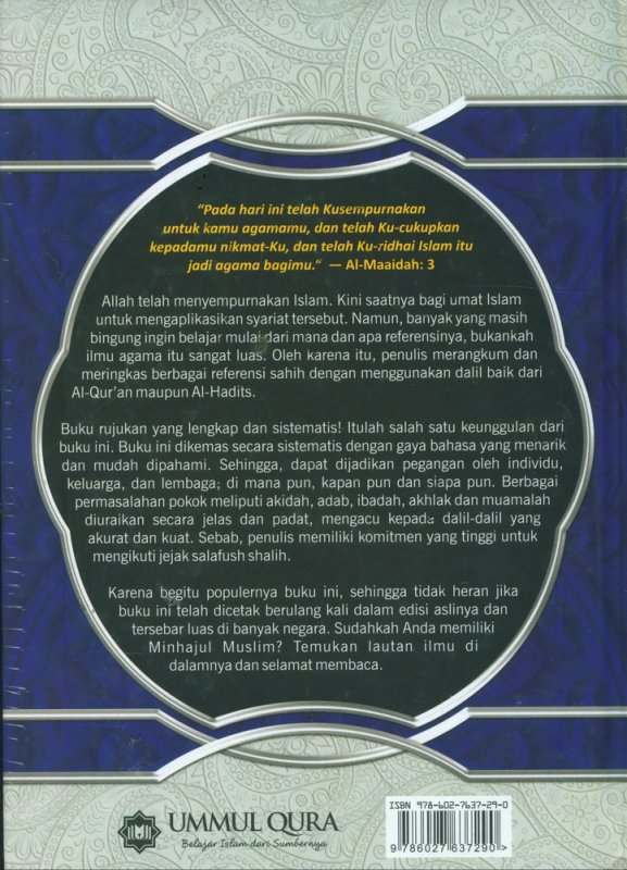 Cover Belakang Buku MINHAJUL MUSLIM: Pedoman Hidup Harian Seorang Muslim (Hard Cover)