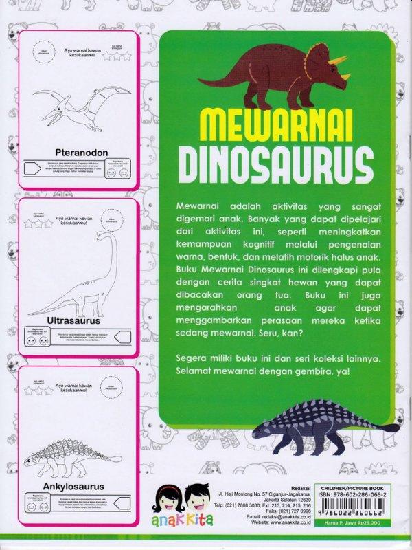 Cover Belakang Buku MARI MEWARNAI DENGAN GEMBIRA : MEWARNAI DINOSAURUS (Promo Best Book)