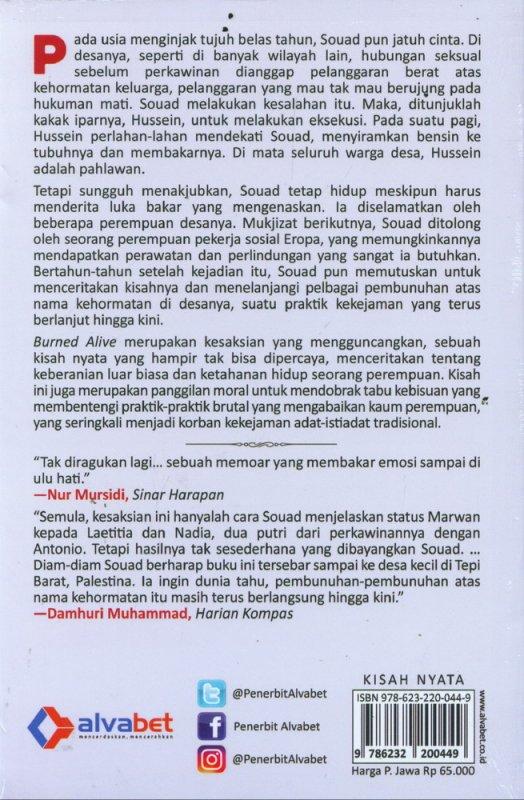 Cover Belakang Buku Burned alive (Cover Baru 2019)