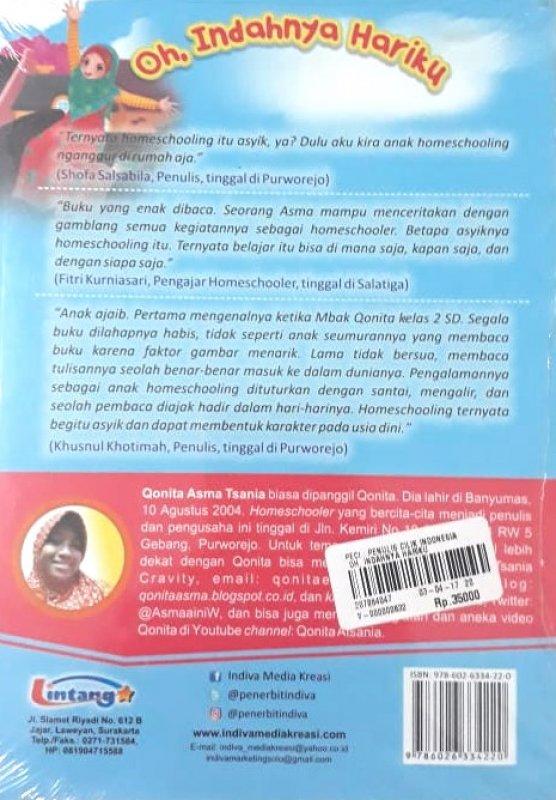 Cover Belakang Buku Oh Indahnya Hariku (Seri Pendidikan Akhlak untuk Anak)