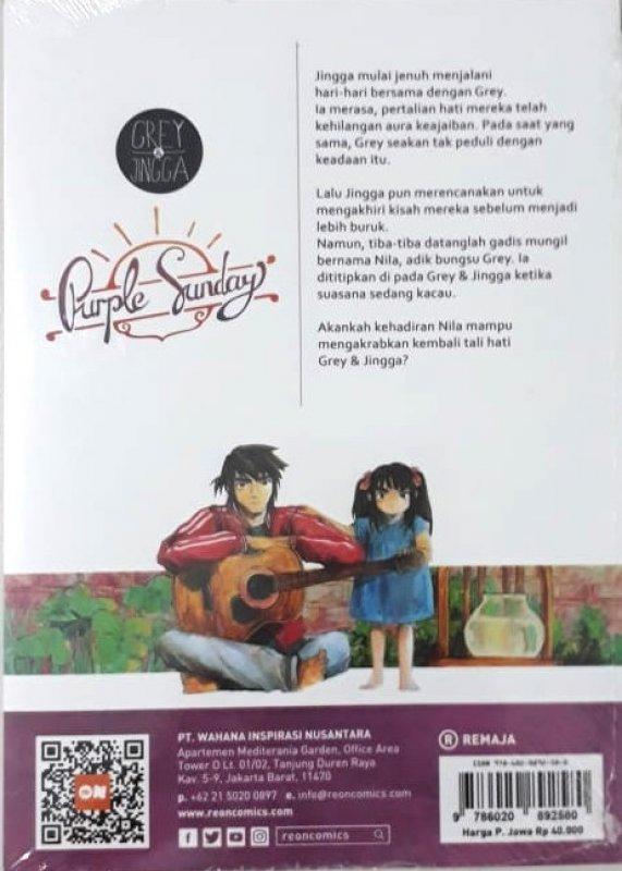 Cover Belakang Buku Re:on Grey & Jingga Purple Sunday Vol. 1