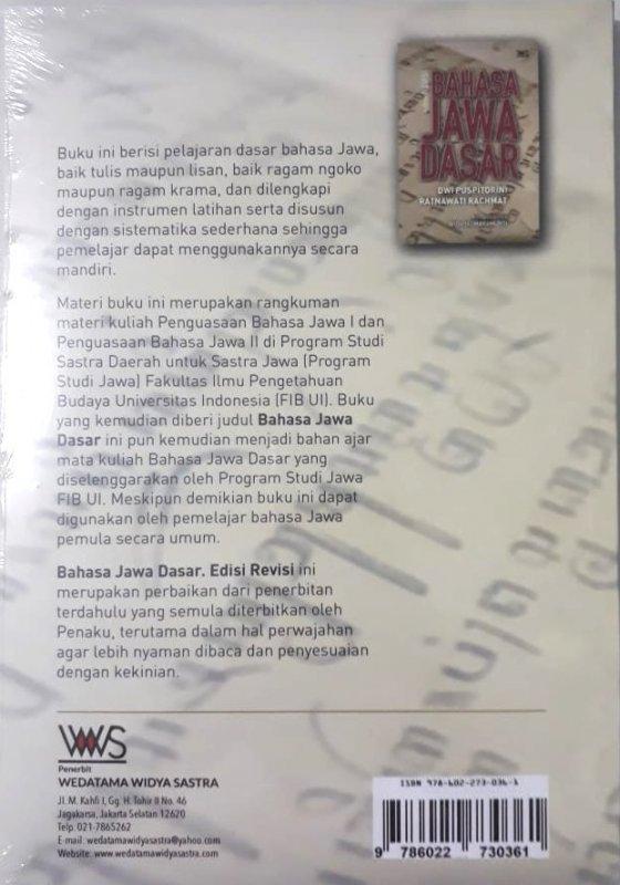 Cover Belakang Buku Bahasa Jawa Dasar Edisi Revisi