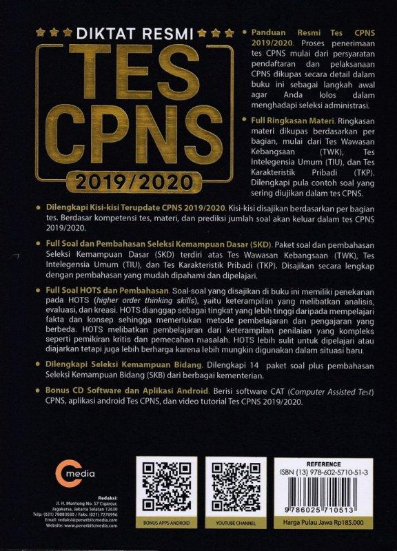 Cover Belakang Buku DIKTAT RESMI TES CPNS 2019/2020