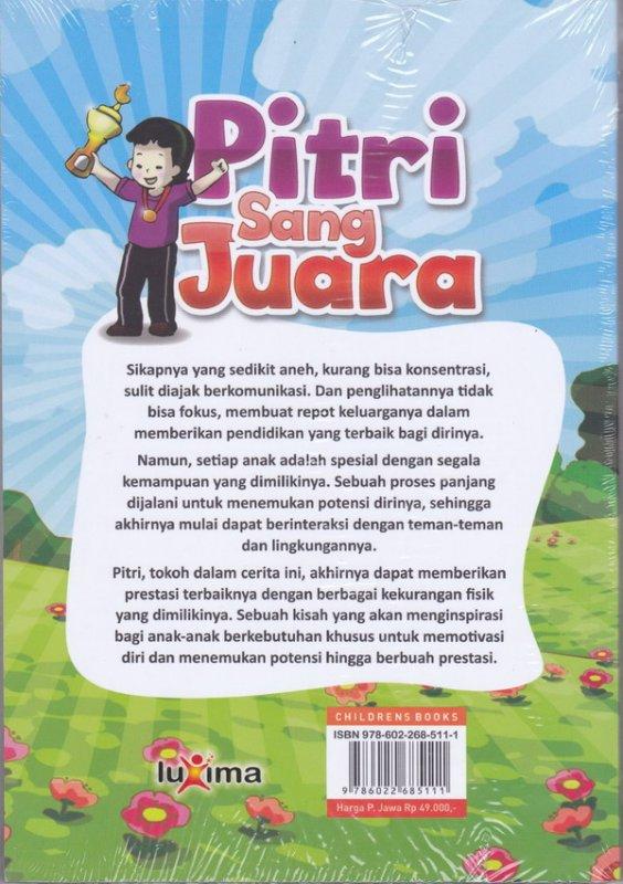 Cover Belakang Buku Pitri sang juara
