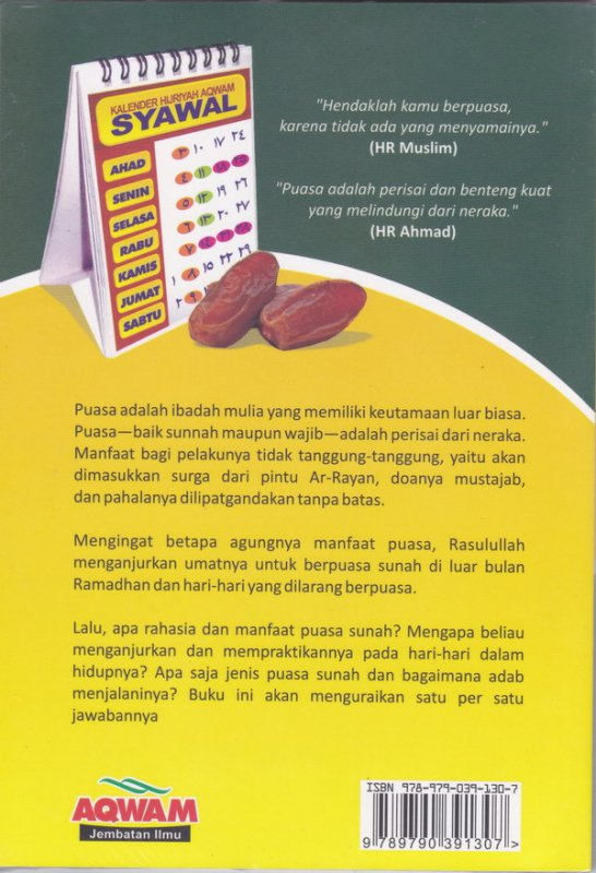 Cover Belakang Buku Buku Pintar Puasa Sunnah ( Cover Baru )