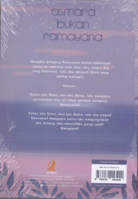 Cover Belakang Buku Asmara bukan Ramayana (novel roman)