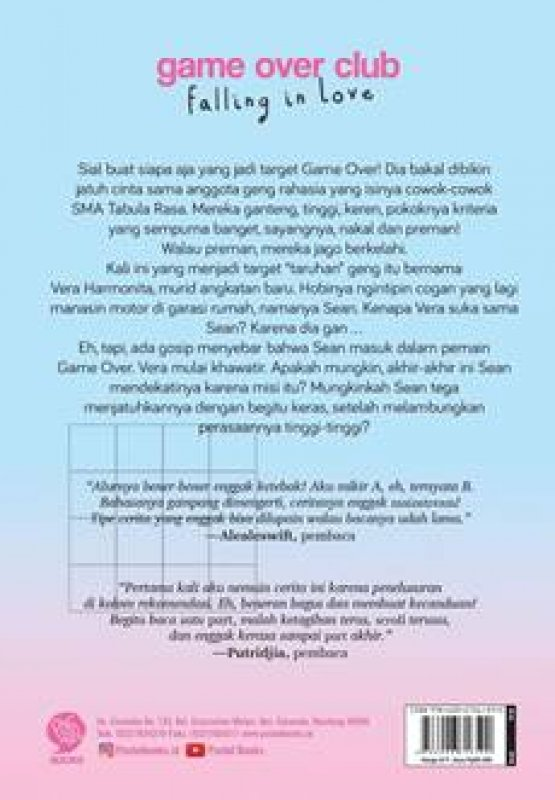Cover Belakang Buku GAME OVER CLUB: Falling in Love