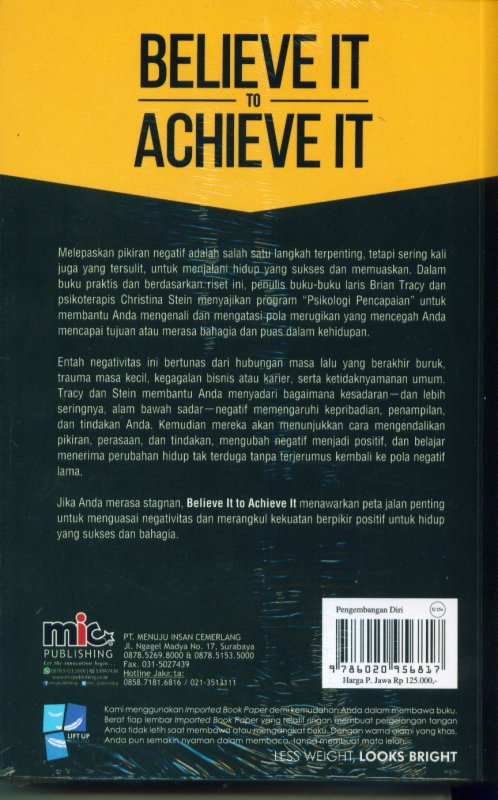 Cover Belakang Buku Believe It To Achieve It