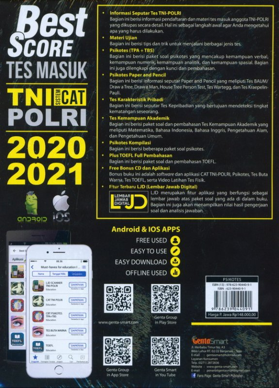 Cover Belakang Buku Best Score Tes Masuk TNI PORLI Sistem Cat 2020-2021