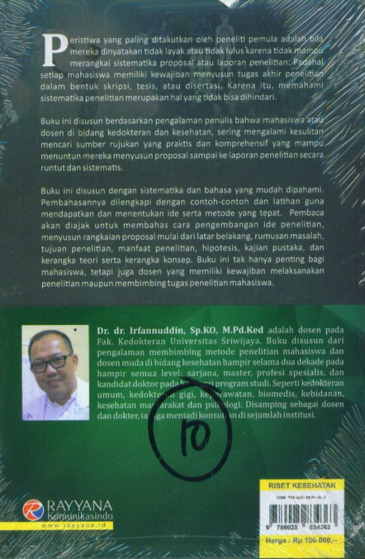 Cover Belakang Buku Cara Sistemasis Berlatih Meneliti Merangkai Sistematika Penelitian Kedokteran Dan Kesehatan