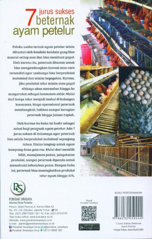 Cover Belakang Buku 7 Jurus Sukses Beternak Ayam Petelur