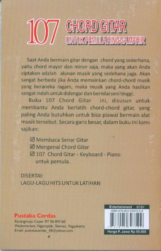 Cover Belakang Buku 107 CHORD GITAR