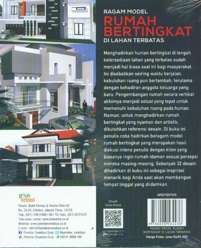 Cover Belakang Buku Ragam Model Rumah Bertingkat Di Lahan Terbatas