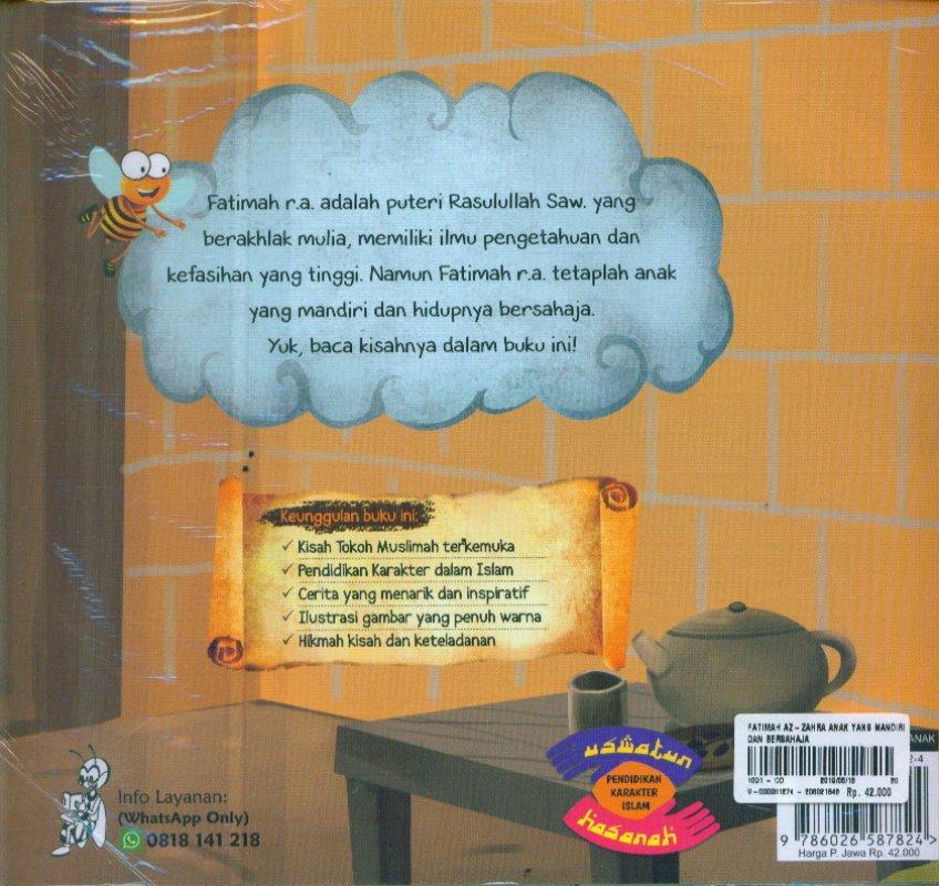 Cover Belakang Buku Fatimah Az-zahra anak yang mandiri dan bersahaja
