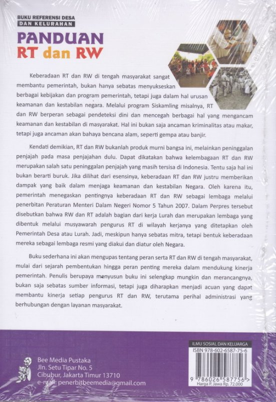 Cover Belakang Buku Buku Referensi Desa Dan Kelurahan Panduan RT Dan RW