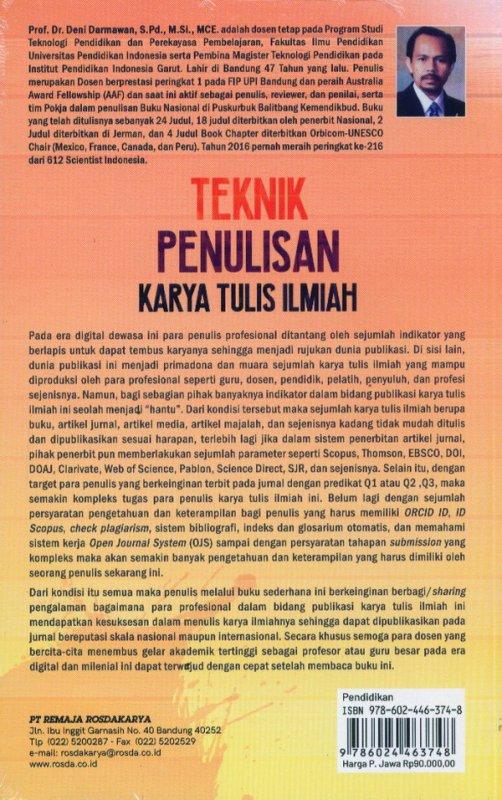 Cover Belakang Buku Teknik Penulisan Karya Tulis Ilmiah