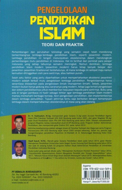 Cover Belakang Buku Pengelolaan Pendidikan Islam (Teori Dan Peraktik)