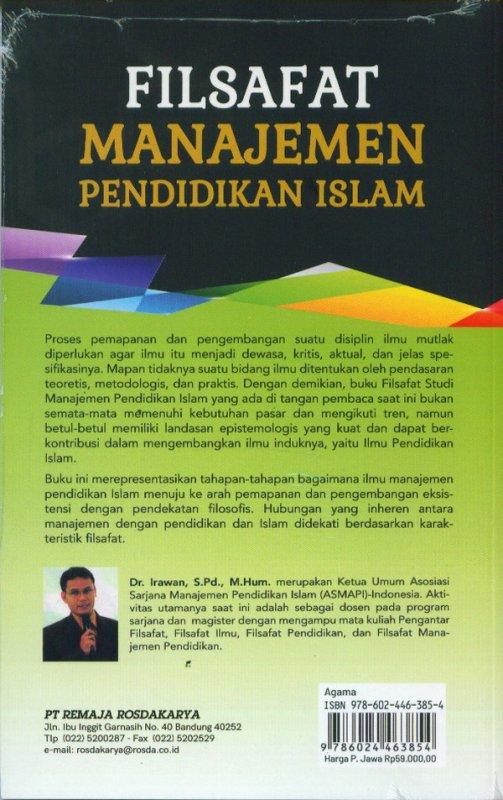 Cover Belakang Buku Filsafat Manajamen Pendidikan Islam