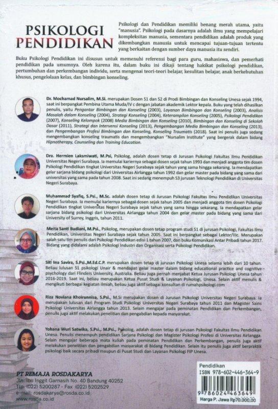 Cover Belakang Buku PSIKOLOGI PENDIDIKAN