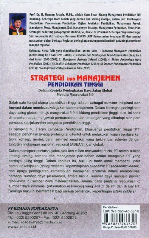 Cover Belakang Buku Strategi dan Manajamen Pendidikan Tinggi