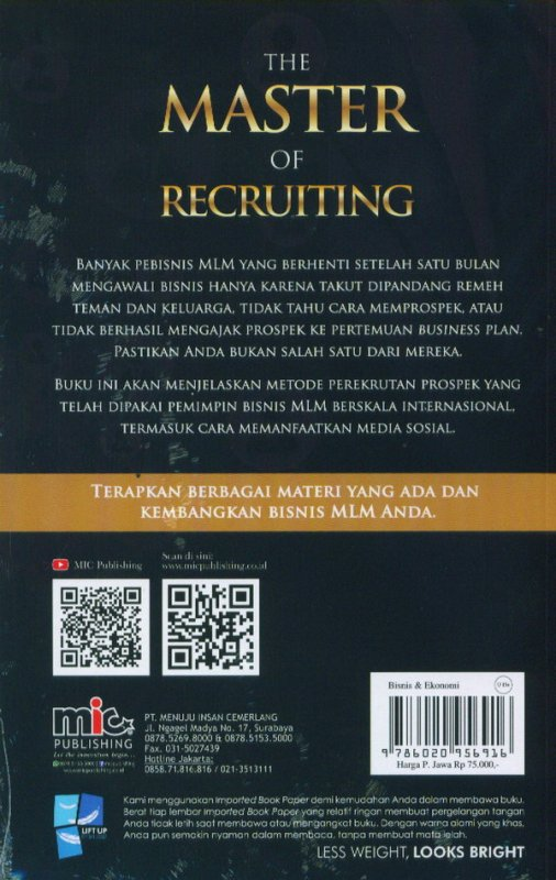 Cover Belakang Buku The Master Of Recruiting