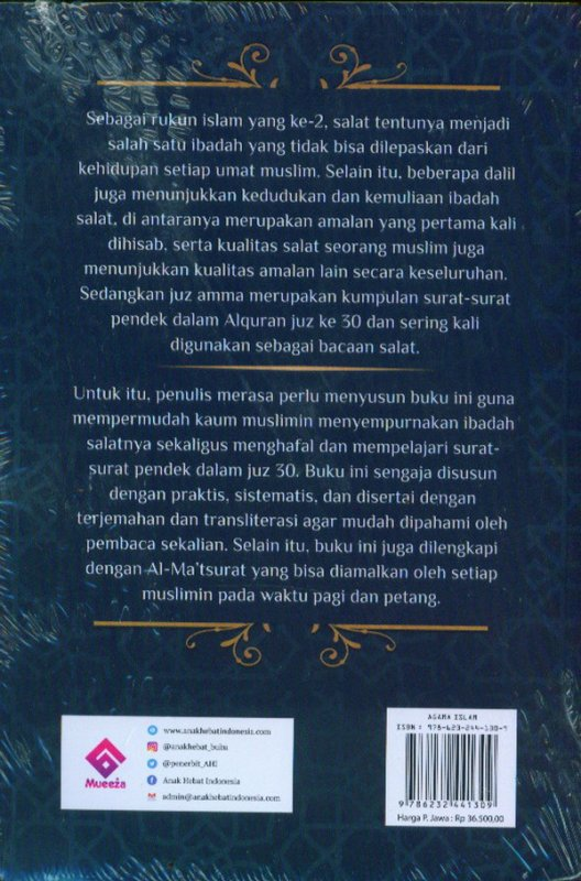 Cover Belakang Buku Terjemah Juz'Amma, Al-Ma'tsurat, dan Panduan Salat