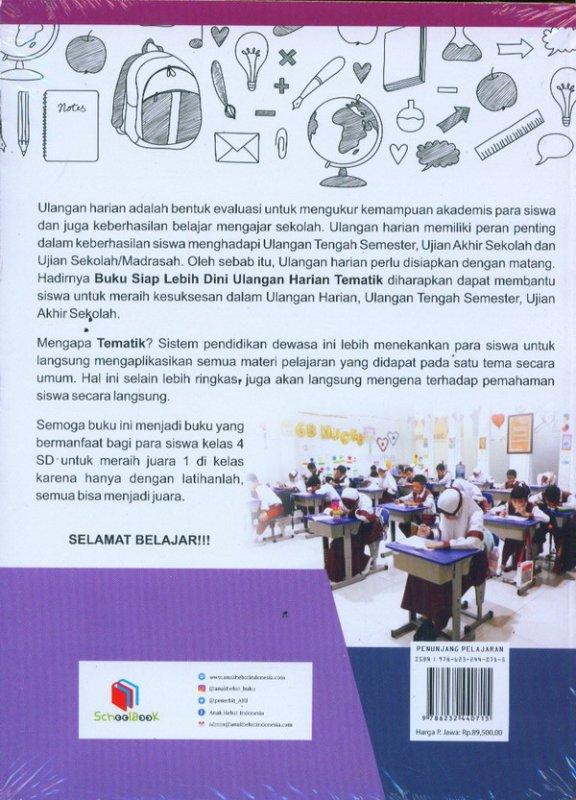 Cover Belakang Buku Siap Lebih Dini: Ulangan Harian Tematik Kelas 4 SD/MI