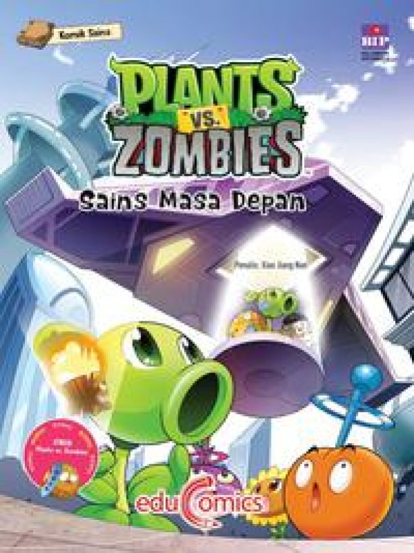 Cover Buku Educomics Plants Vs Zombies : Sains Masa Depan