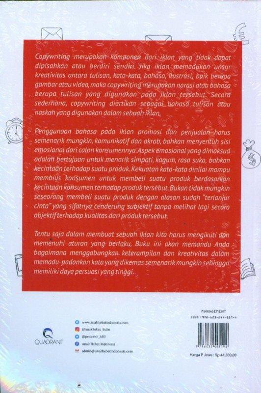 Cover Belakang Buku Persuasive Copywriting: Sebuah Seni Menjual Melalui Tulisan