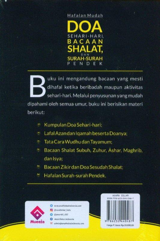 Cover Belakang Buku Hafalan Mudah Doa Sehari-Hari Shalat, Dan Surah-Surah Pendek