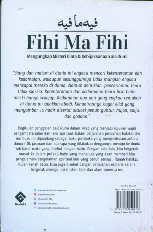 Cover Belakang Buku Fihi Ma Fihi: Mengungkap Misteri Cinta & Kebijaksanaan ala Rumi