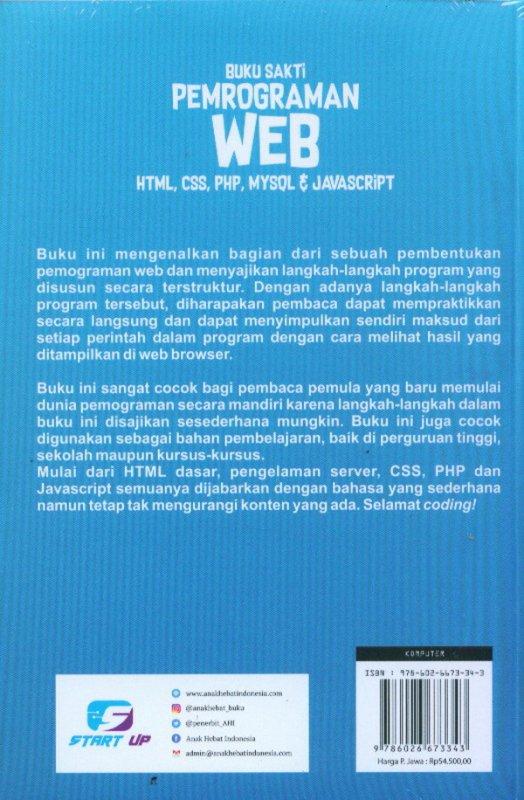 Cover Belakang Buku Buku Sakti Pemrograman Web HTML, CSS, PHP, MYSQL & JAVASCRIPT