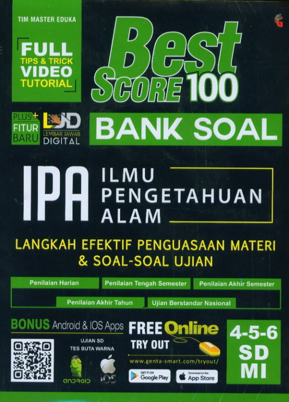 Cover Buku Best Score 100 Bank Soal IPA SD/MI Kelas 4,5,6