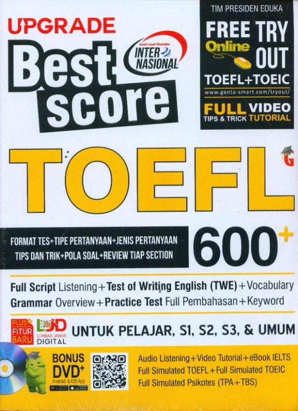 Cover Buku Upgrade Best Score TOEFL 600+