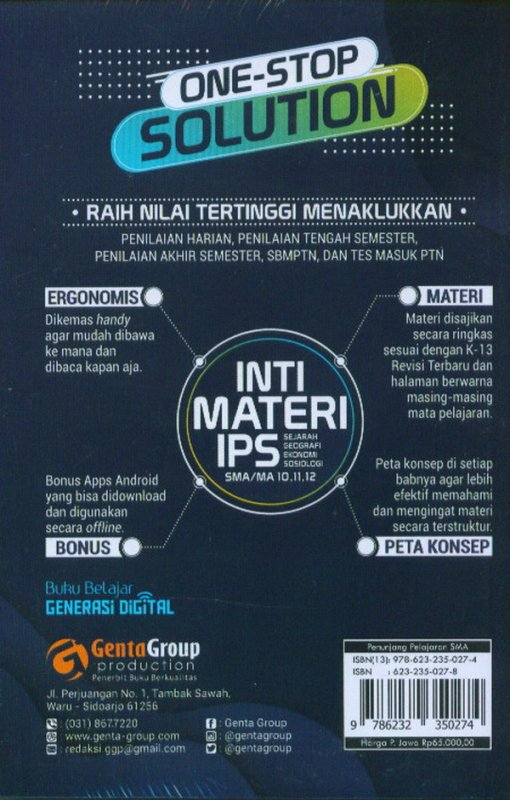 Cover Belakang Buku Inti Materi IPS SMA/MA Kelas 10,11,12