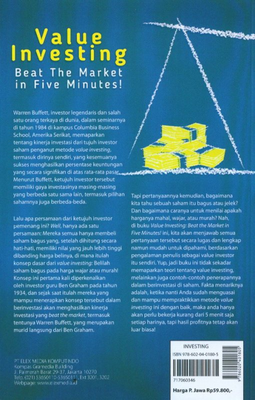 Cover Belakang Buku Value Investing Beat The Market In Five Minutes!