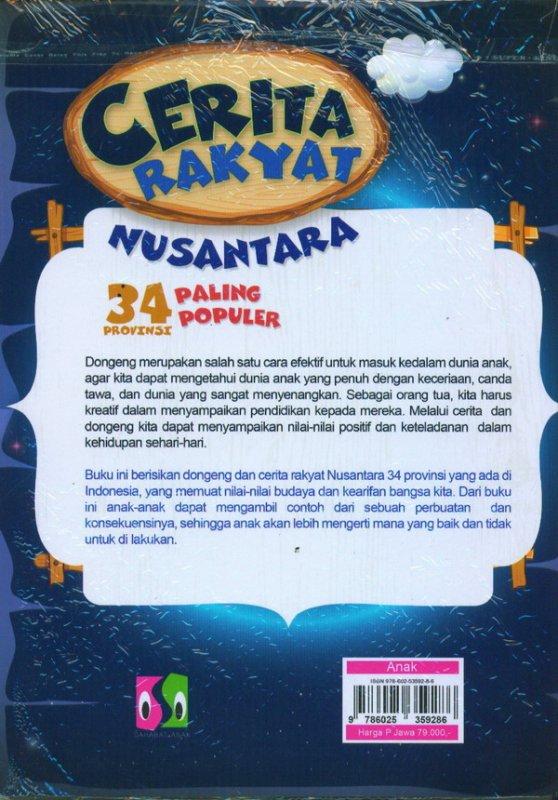 Cover Belakang Buku Cerita Rakyat Nusantara 34 provinsi paling populer
