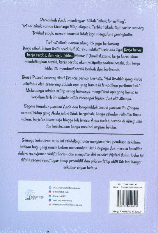 Cover Belakang Buku Kerja Produktif, Pikiran Aktif