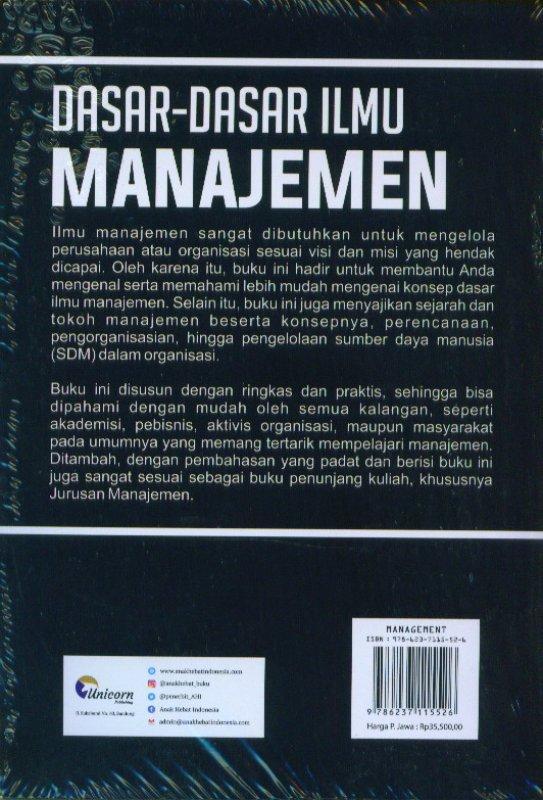 Cover Belakang Buku Dasar-Dasar Ilmu Manajemen