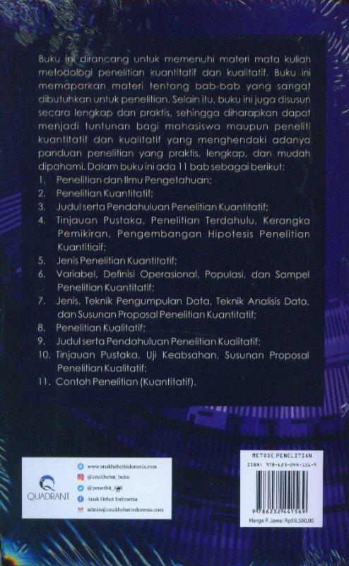 Cover Belakang Buku Metode Penelitian Kuantitatif Dan Kualitatif