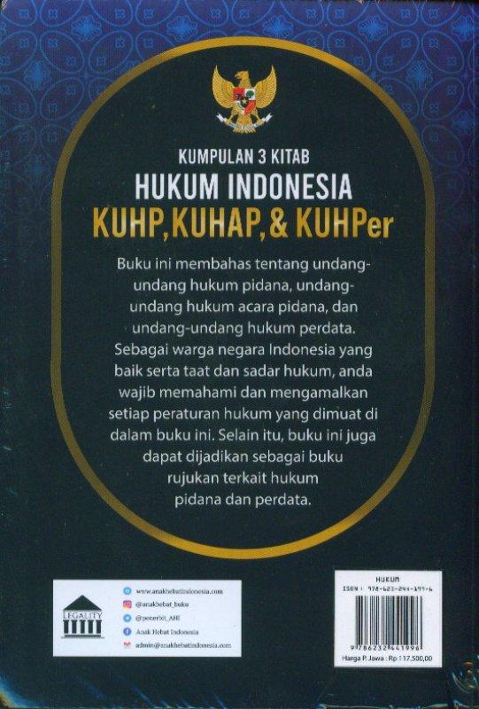 Cover Belakang Buku Kumpulan 3 Kitab Hukum Indonesia, KUHP, KUHAP, KUHPer