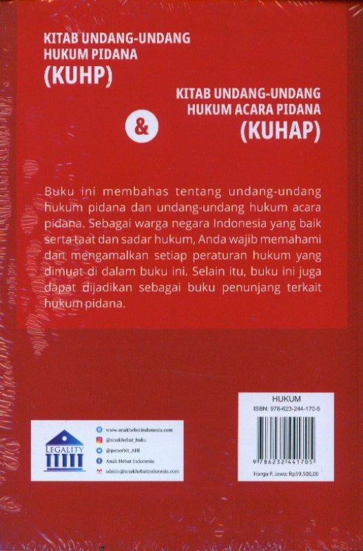Cover Belakang Buku Kitab Undang-Undang Hukum Pidana (KUHP) & Kitab Undang-Undang Hukum Acara Pidana (KUHAP)