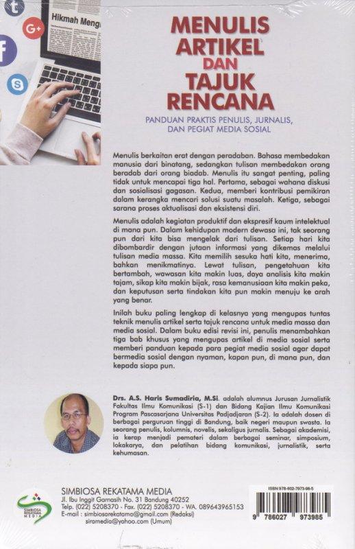 Cover Belakang Buku Menulis Artikel Dan Tajuk Rencana Ed.Revisi